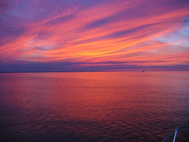 Chesapeake Bay sunset on charter fishing boat